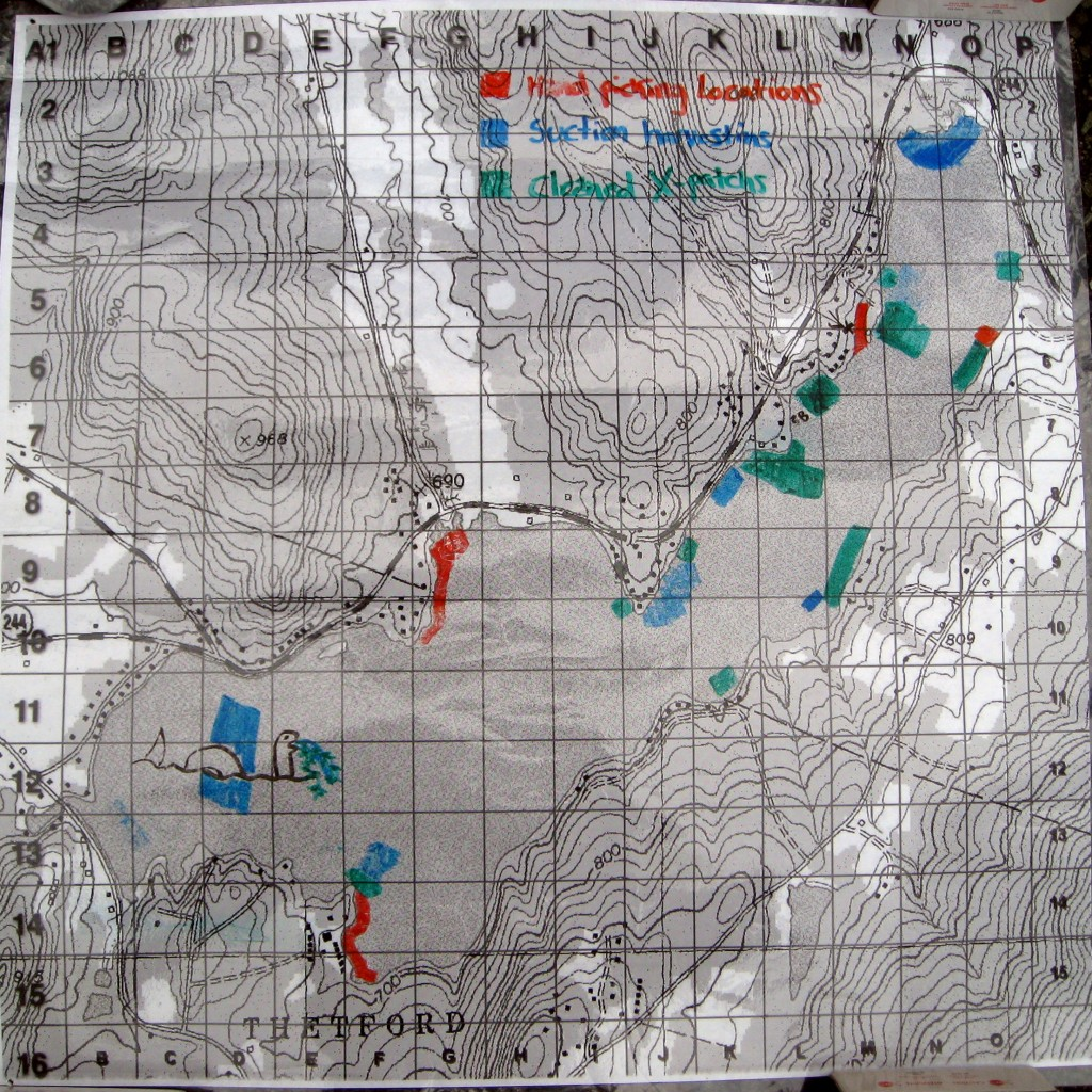 Plastic covered grid map of Lake Fairlee